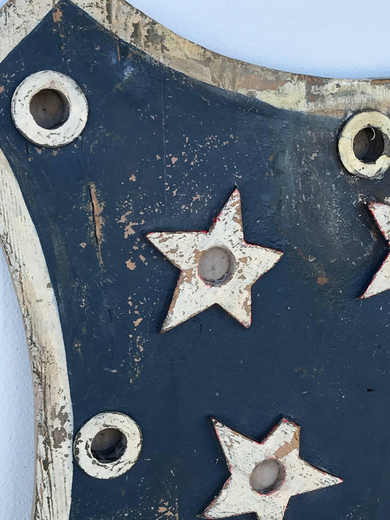 Paint American Folk Art Flag Shield or Sign with Nine Stars For Sale
