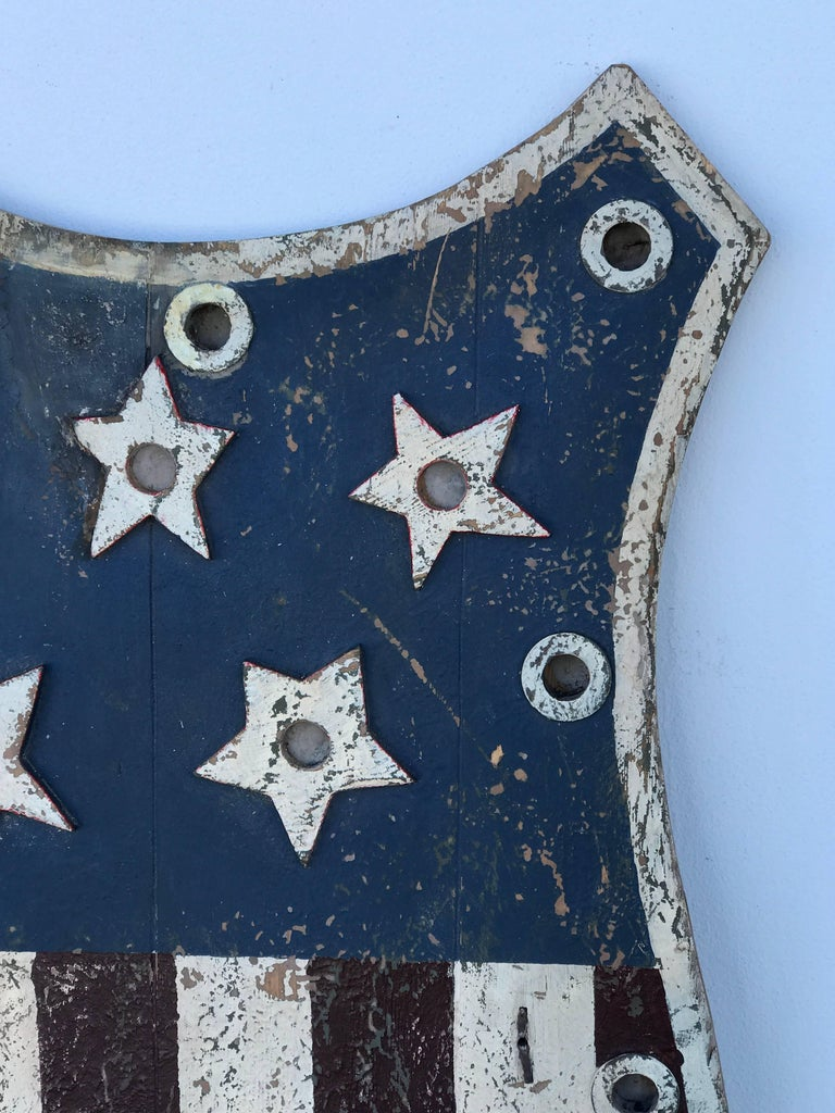 American Folk Art Flag Shield or Sign with Nine Stars In Distressed Condition For Sale In West Palm Beach, FL