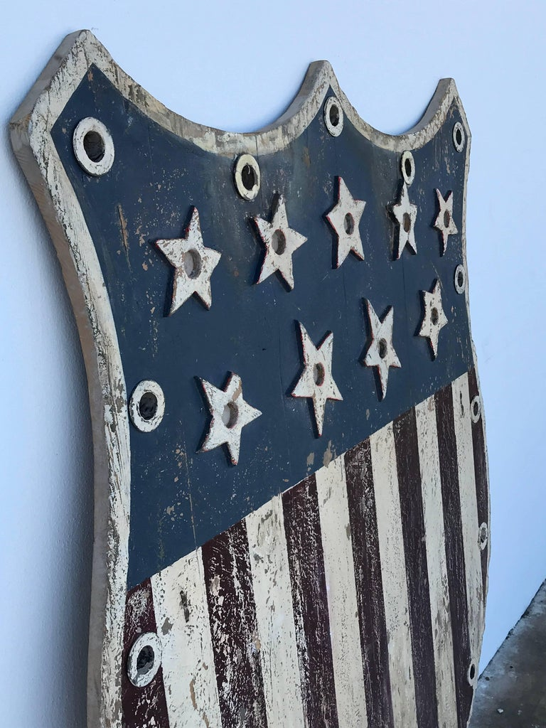 American Folk Art Flag Shield or Sign with Nine Stars For Sale 4