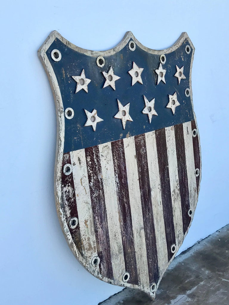 American Folk Art Flag Shield or Sign with Nine Stars For Sale 3