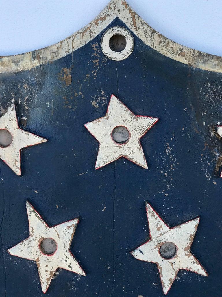 20th Century American Folk Art Flag Shield or Sign with Nine Stars For Sale
