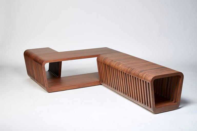 Blackened Bench or Coffee Table, LINK by Reda Amalou , 2016 - Red or White Lacquer, Walnut For Sale