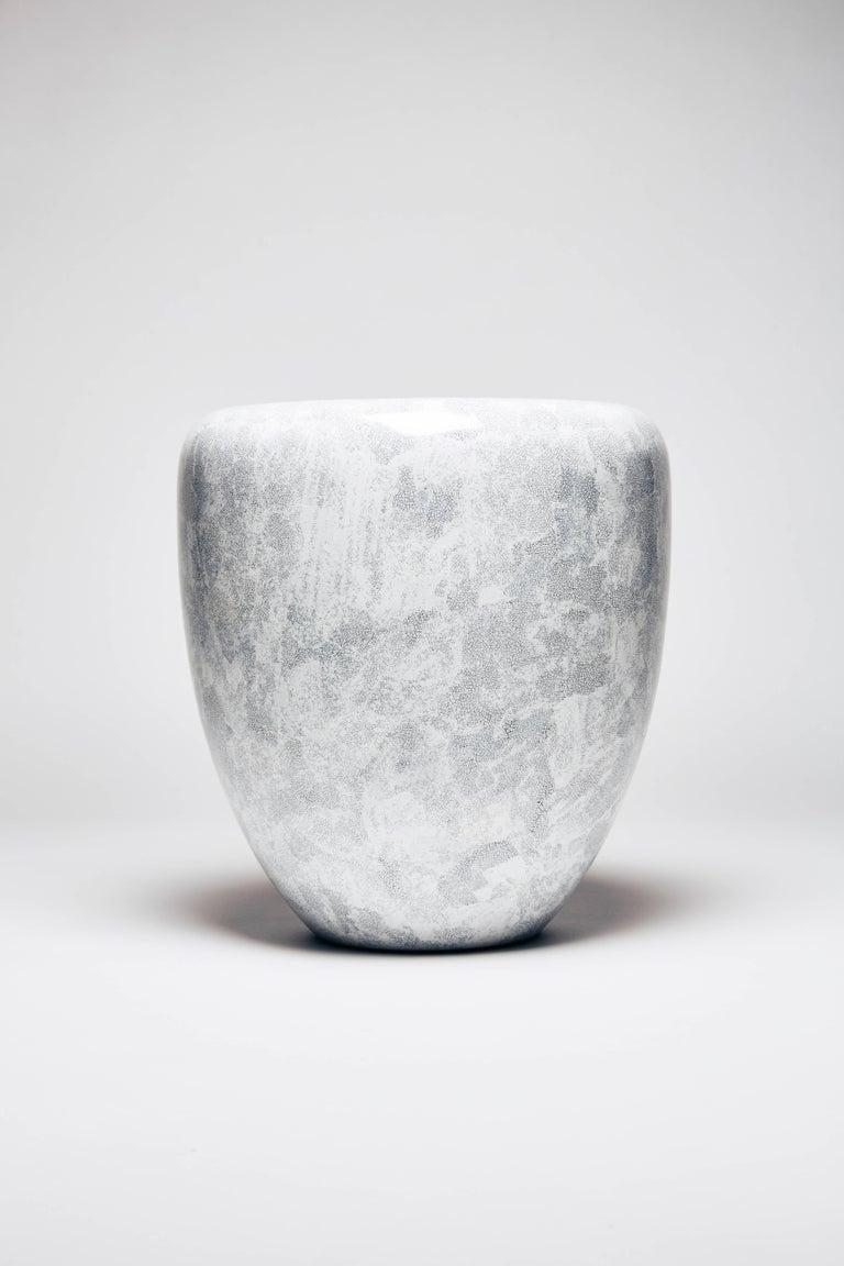 Lacquered Dot, Side Table or Stool, White Eggshell by Reda Amalou Design, 21st Century For Sale