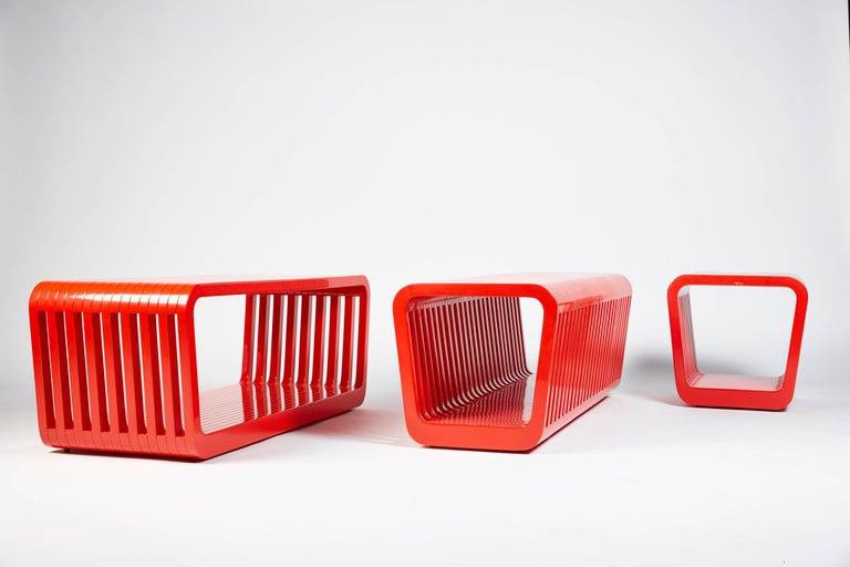 Wood Bench or Coffee Table, LINK by Reda Amalou, 2016 - Red or White Lacquer, Walnut For Sale