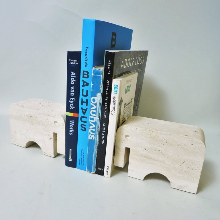 Late 20th Century Pair of Bookends Elephant in Travertine by Fratelli Mannelli, 1970 For Sale