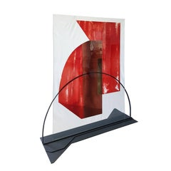 Italian Contemporary Red Etched Art Crystal Glass Sculpture with Black Iron Base