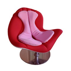Contemporary Swivel Armchair by Italo Rota, Red and White with Steel Frame, 2010