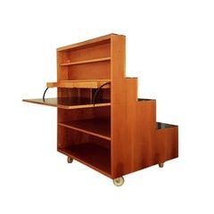 Achille Castiglioni Bookcase on Castors in Walnut and Pearwood with Black Desk