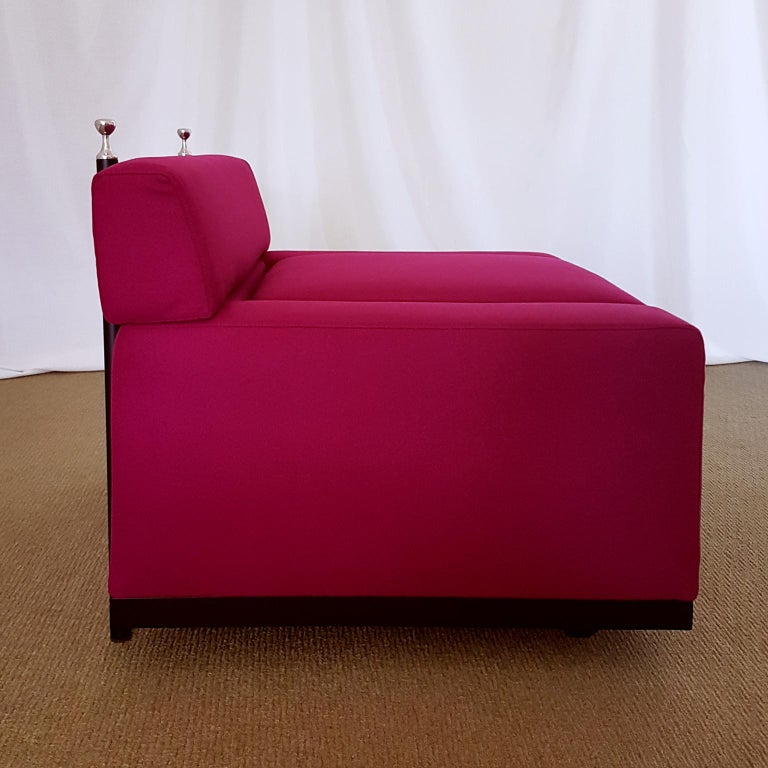 Mid-Century Modern Achille and Pier Giacomo Castiglioni Fuxia Fabric Armchair on Castors, 1957 For Sale