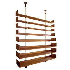 Carlo Scarpa Italian Bernini Natural Walnut Bookcase with White Metal Uprights