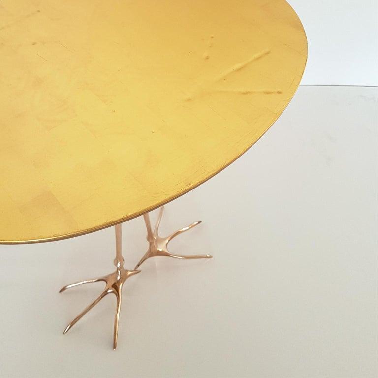 Late 20th Century M. Oppenheim Traccia Gold Leaf Italian Simon Gavina Coffee Table with Bronze Leg For Sale