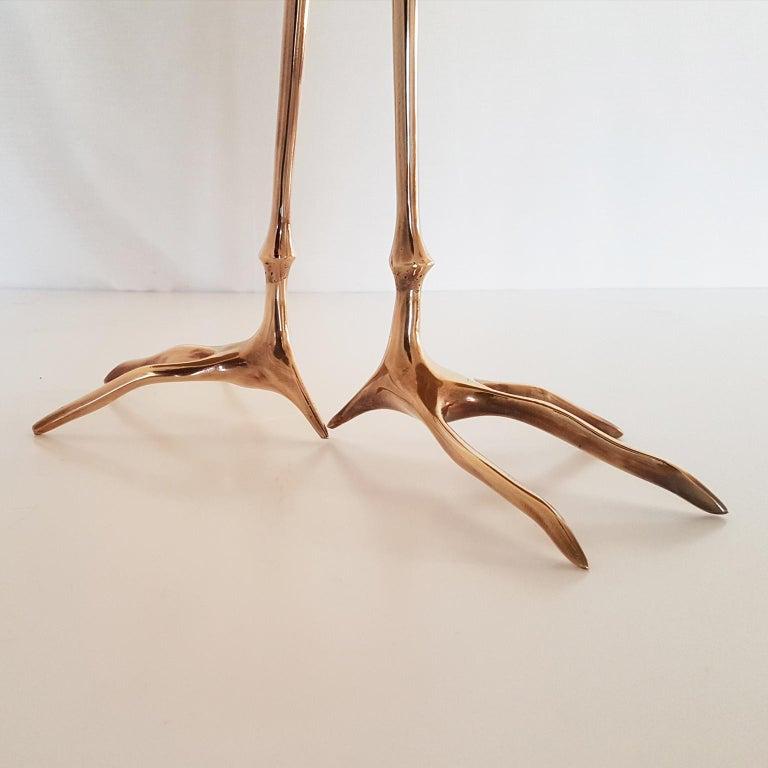 M. Oppenheim Traccia Gold Leaf Italian Simon Gavina Coffee Table with Bronze Leg For Sale 2