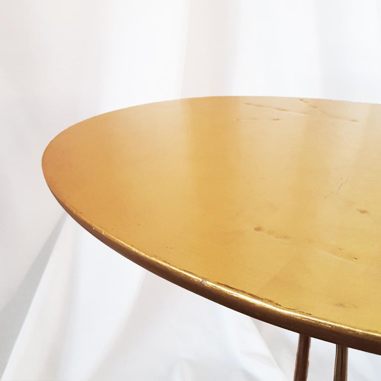 M. Oppenheim Traccia Gold Leaf Italian Simon Gavina Coffee Table with Bronze Leg For Sale 10