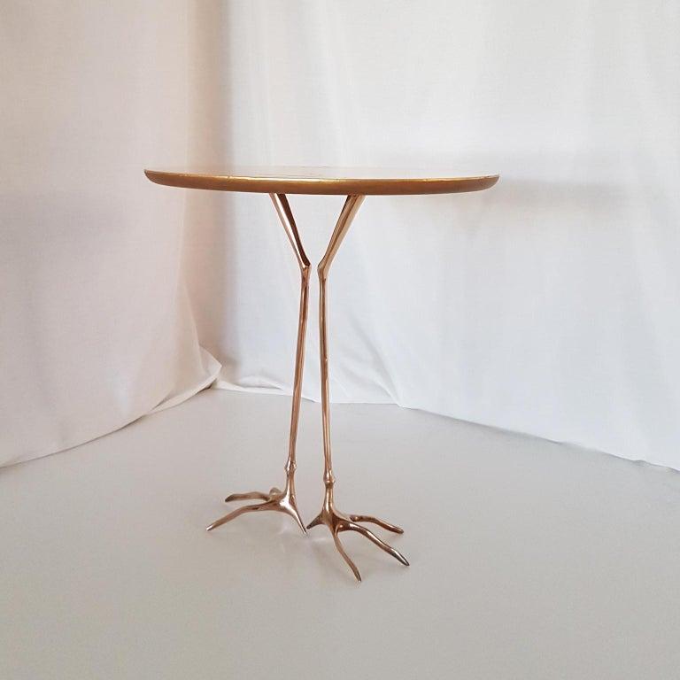 M. Oppenheim Traccia Gold Leaf Italian Simon Gavina Coffee Table with Bronze Leg In Good Condition For Sale In Mornico al Serio ( BG), Lombardia