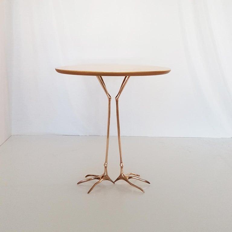 Post-Modern M. Oppenheim Traccia Gold Leaf Italian Simon Gavina Coffee Table with Bronze Leg For Sale