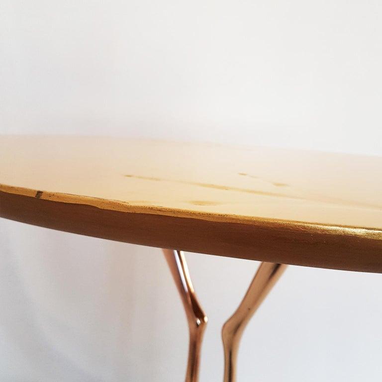 M. Oppenheim Traccia Gold Leaf Italian Simon Gavina Coffee Table with Bronze Leg For Sale 6