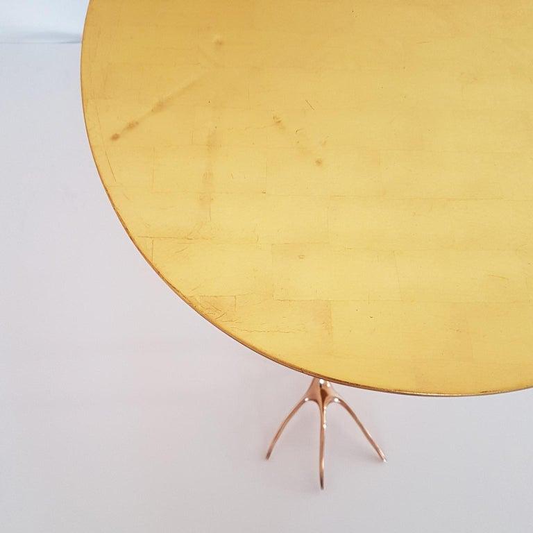 M. Oppenheim Traccia Gold Leaf Italian Simon Gavina Coffee Table with Bronze Leg For Sale 1