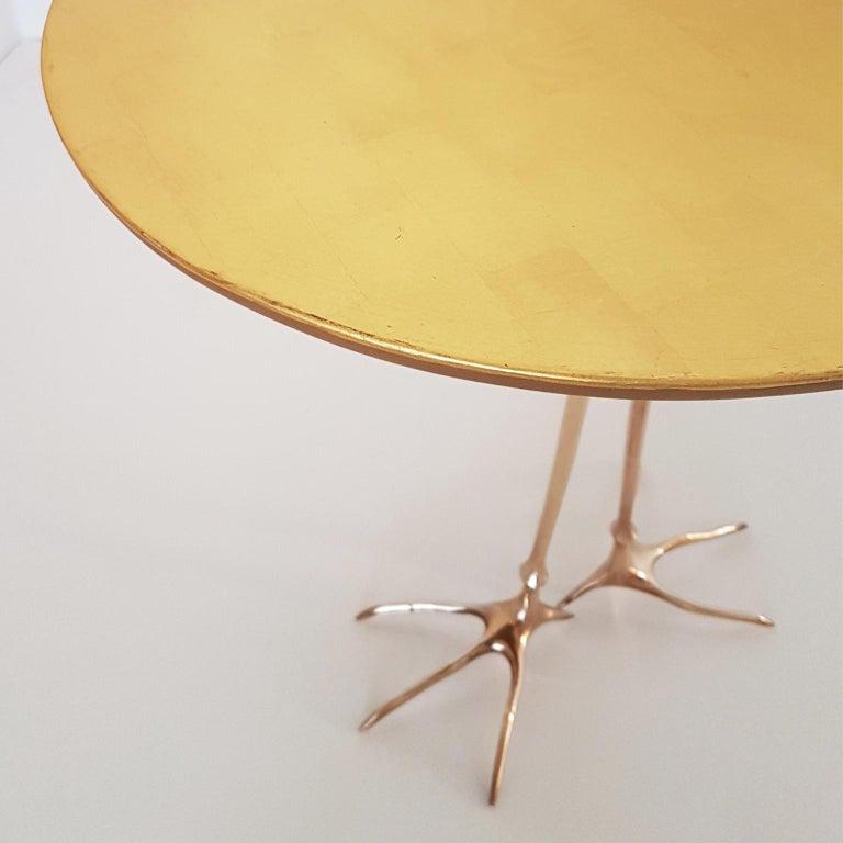 M. Oppenheim Traccia Gold Leaf Italian Simon Gavina Coffee Table with Bronze Leg For Sale 8