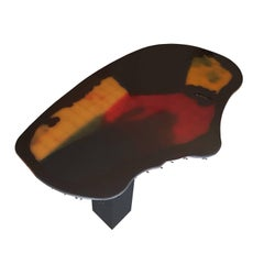 Gaetano Pesce Italian Wide Limited Edition Table with Resin Top and Wood Leg