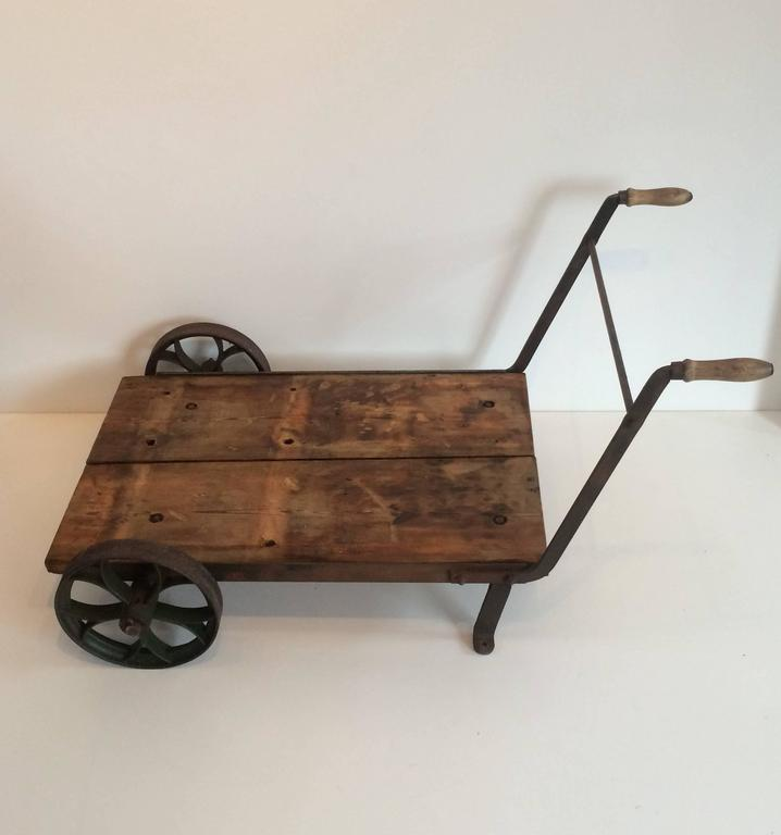 1860 Industrial Vintage Trolley Wheelbarrow Or Cart Steel Wheeled Coffee Table For Sale At 1stdibs
