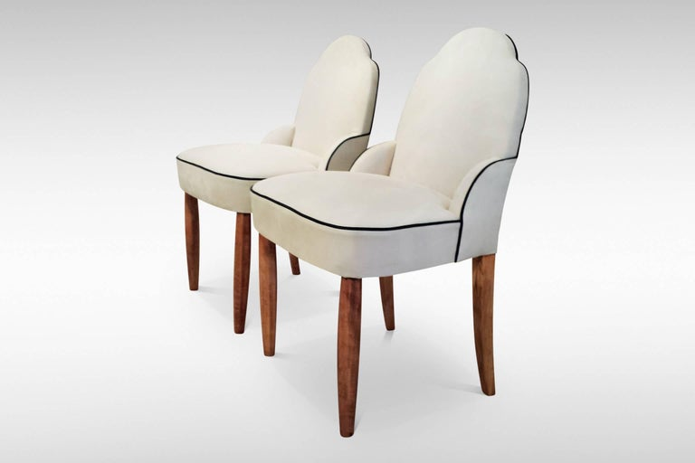 A pair of French Art Deco side or bedroom chairs, labelled 1926. Fully reupholstered internally and recovered with new faux suede fabric. This is comfortable, long wearing, resistant to major stains and meets international fire regulations.