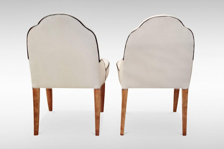 Early 20th Century Pair of French Art Deco Side Chairs For Sale