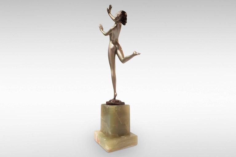 Austrian 'Freedom', Art Deco Silvered Bronze Figurine by Josef Lorenzl For Sale