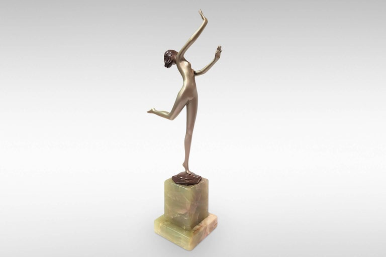 'Freedom', Art Deco Silvered Bronze Figurine by Josef Lorenzl In Excellent Condition For Sale In Kent, GB