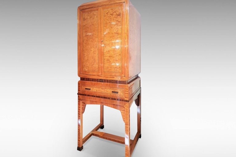 European Art Deco Cocktail Cabinet in Burr Walnut and Other Veneers For Sale