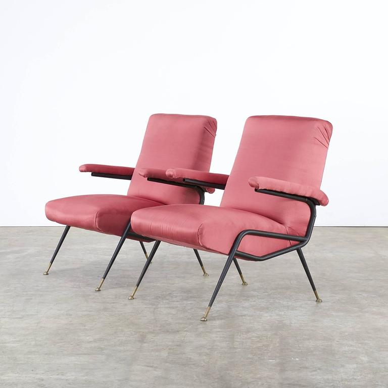 1960s italian design chair in old red fabric set of two for Designer chairs from the 60s