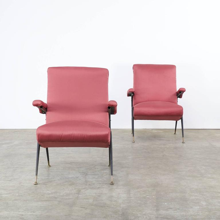 1960s italian design chair in old red fabric set of two for 1960s furniture designers
