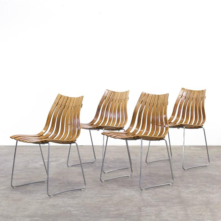 1950s hans brattrud scandia chair group of four for hove for Furniture hove