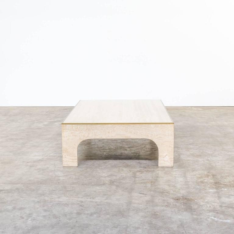 1970s Willy Rizzo Bronze And Travertine Coffee Table For Sale At 1stdibs