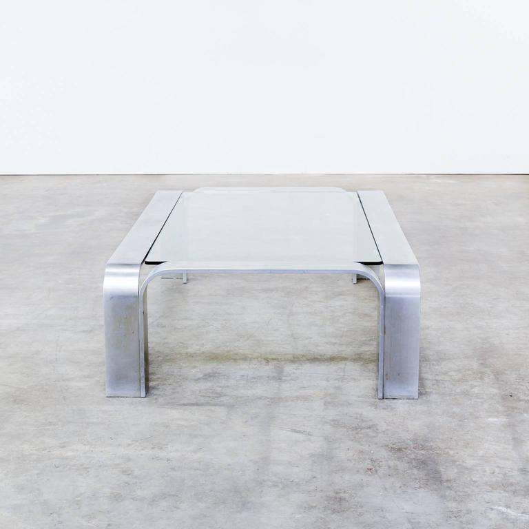 1990s Coffee Table In Aluminium And Glass For Sale At 1stdibs