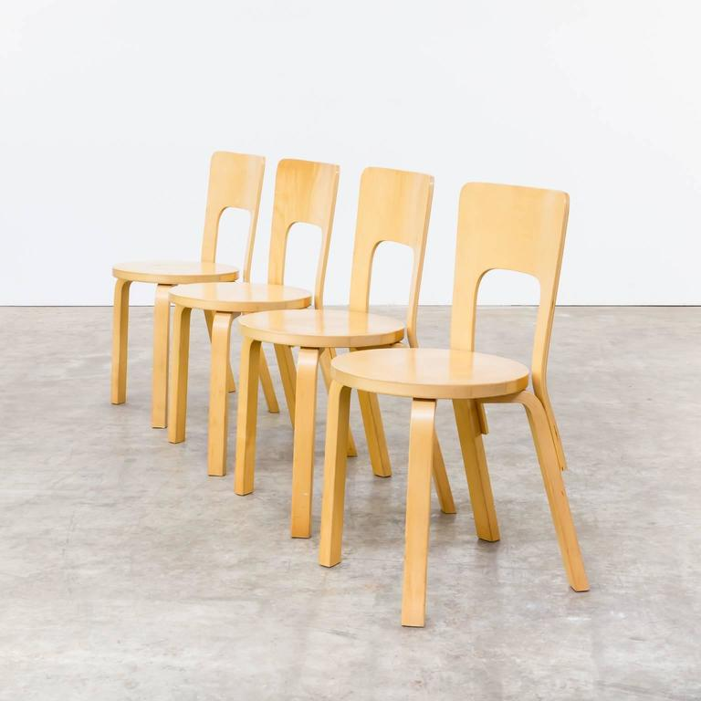 1960s Alvar Aalto Model 66 Dinner Chairs For Artek Set Of