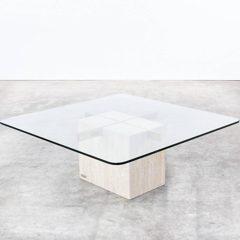 Bon 1970s Artedi Italian Travertine Base, Glass Top Coffee Table