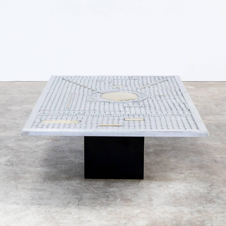 Mid-Century Brutalist Coffee Table, Brass And Metal