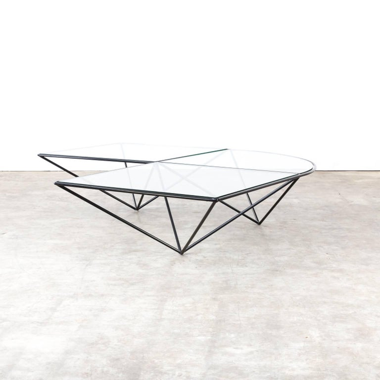 Paola Piva glass corner coffee table attributed to B&B Italia, in good condition consistent with age and use, small chip from the glass.
