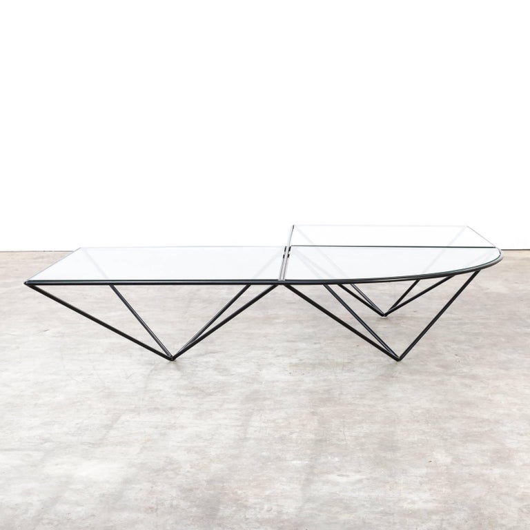 Italian Paola Piva Glass Corner Coffee Table Attributed to B&B Italia For Sale