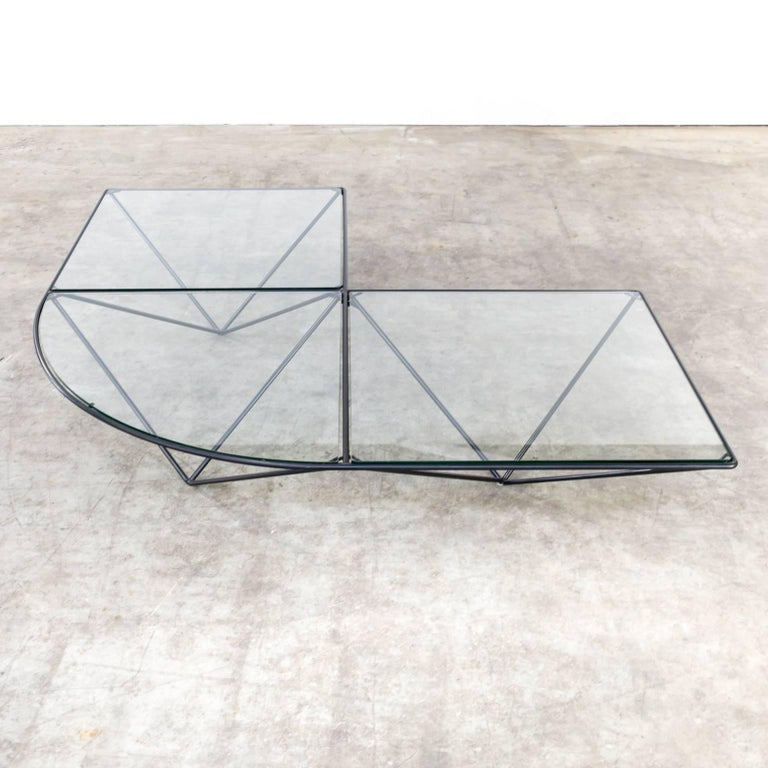 20th Century Paola Piva Glass Corner Coffee Table Attributed to B&B Italia For Sale