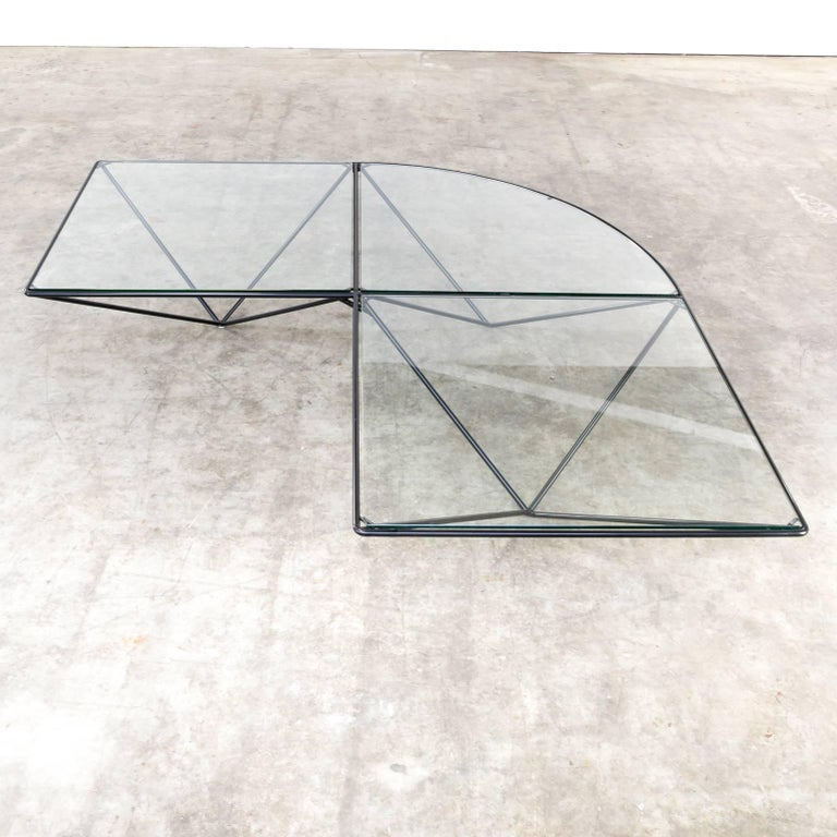 Paola Piva Glass Corner Coffee Table Attributed to B&B Italia For Sale 1
