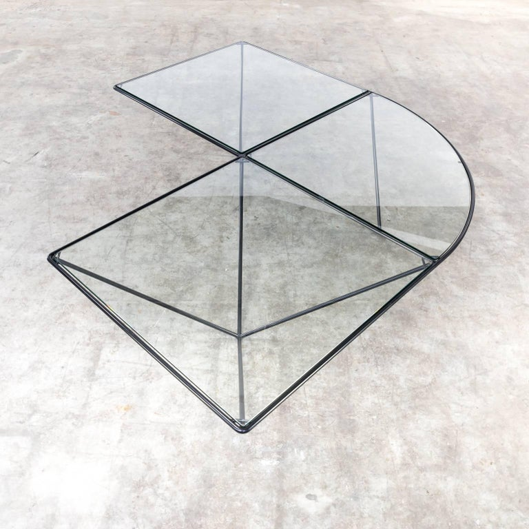 Metal Paola Piva Glass Corner Coffee Table Attributed to B&B Italia For Sale