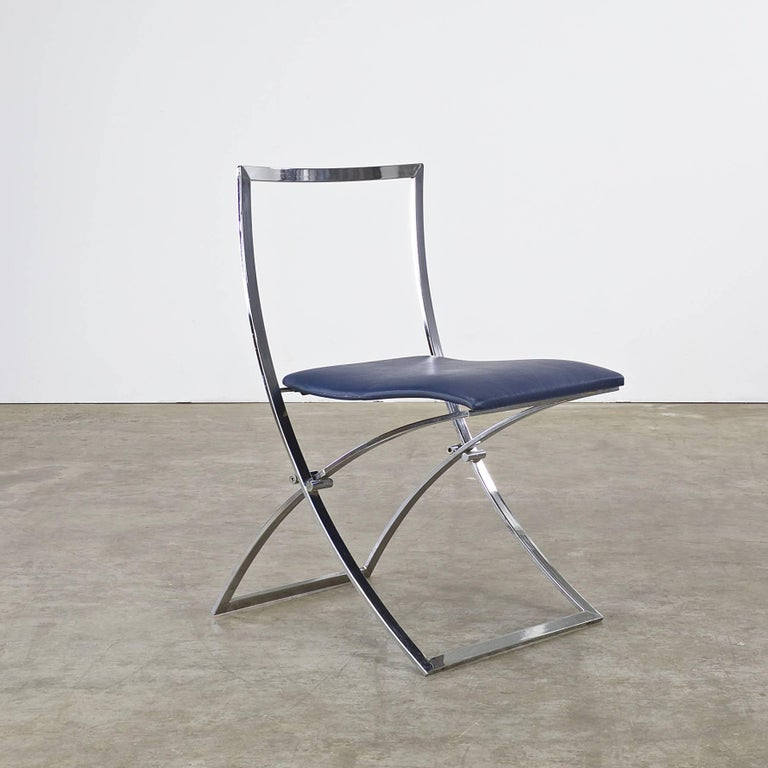 20th Century Marcello Cuneo Folding Chair 'Model Luisa' for Mobel Italia, Set of Three For Sale