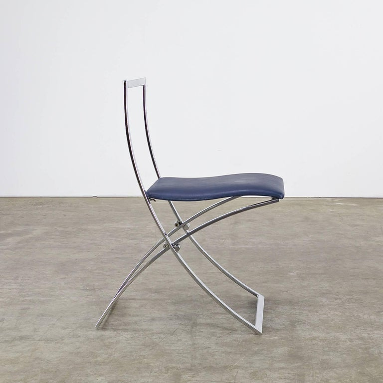 Chrome Marcello Cuneo Folding Chair 'Model Luisa' for Mobel Italia, Set of Three For Sale