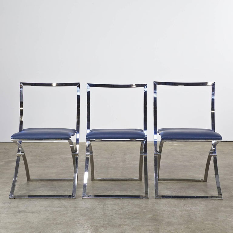 Mid-Century Modern Marcello Cuneo Folding Chair 'Model Luisa' for Mobel Italia, Set of Three For Sale