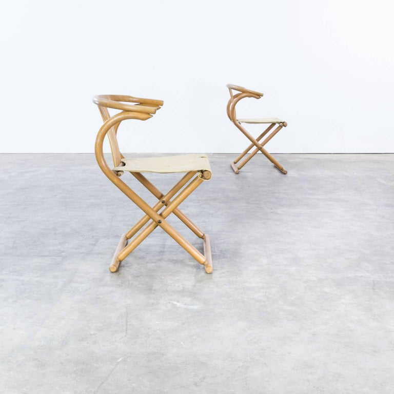 Canvas Thonet Bentwood Folding Chair Set or 2 For Sale