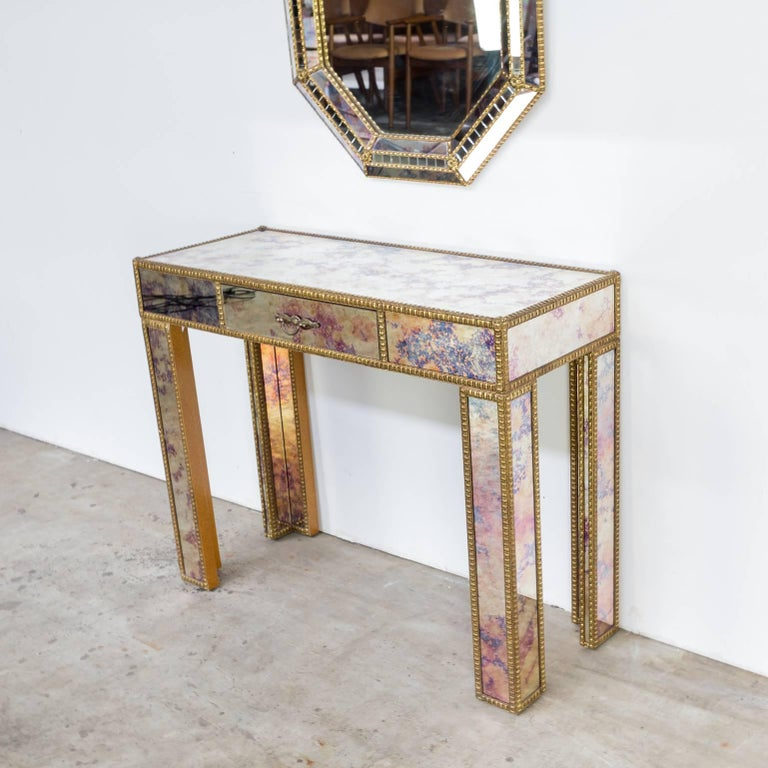 1960s Dressing Table with Mirror in Regency Style In Good Condition For Sale In Amstelveen, Noord