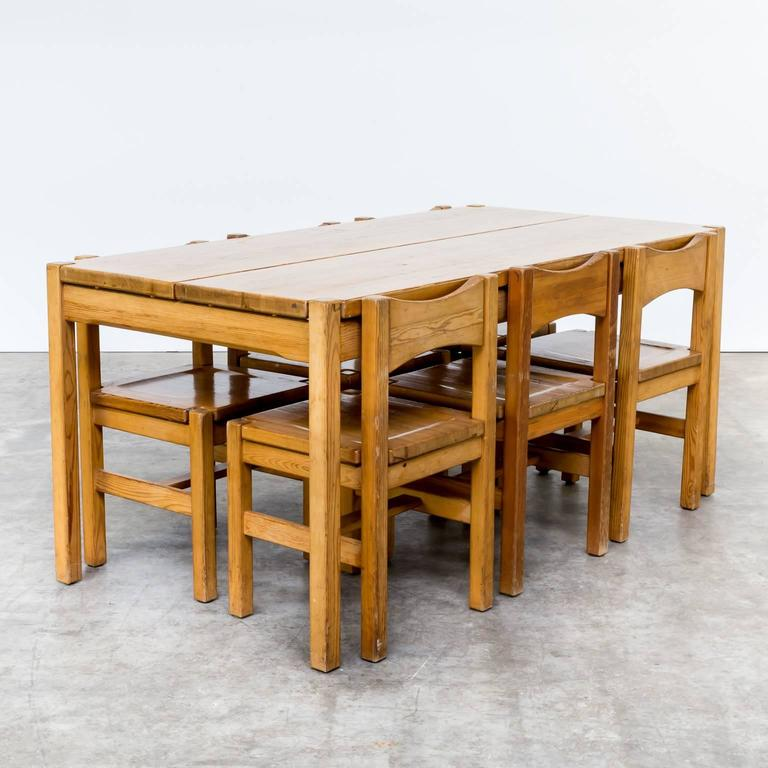 Ilmari Tapiovaara Pinewood Dinner Set One Table and Six Chairs for ...