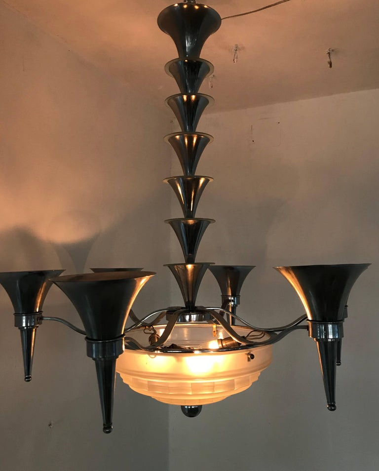 Art deco chandelier by sabino art glass 39 france 39 for sale for Deco francaise