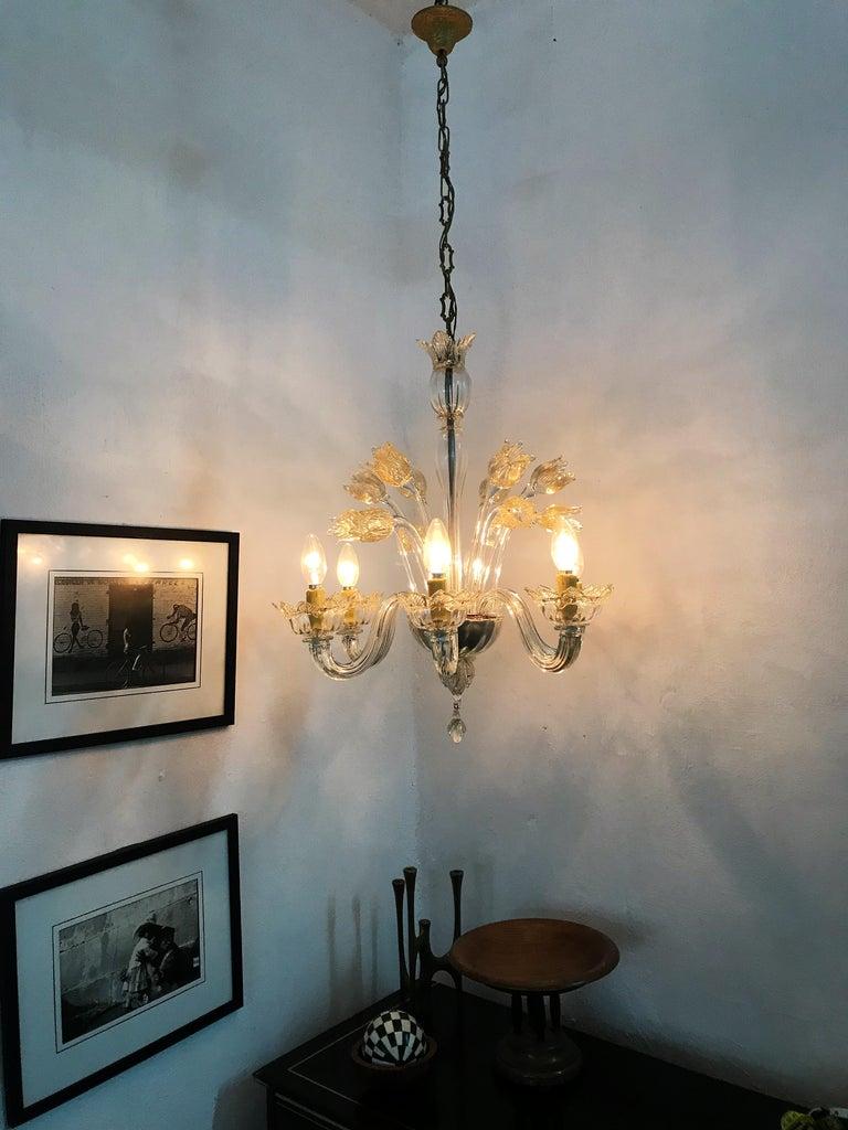 Mid-Century Modern Chandelier in Murano Glass, Attr. Barovier & Toso, circa 1950 For Sale 4